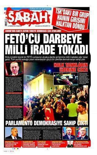 16 Temmuz 2016 Gazete Manşetleri