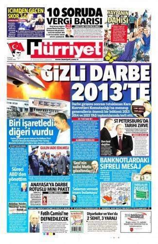 27 Temmuz 2016 Gazete manşetleri