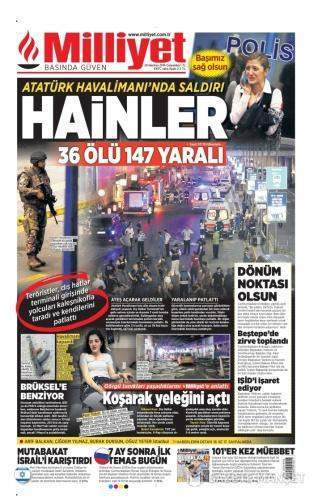29 Haziran 2016 Çarşamba Gazete Manşetleri