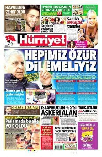 12 Ağustos 2016 Gazete Manşetleri