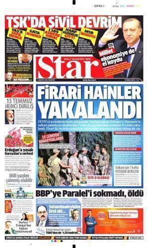 1 Ağustos 2016 Gazete manşetleri