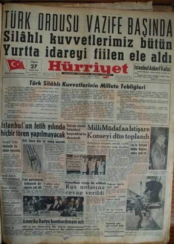 27 Mayıs 1960 Gazete Manşetleri