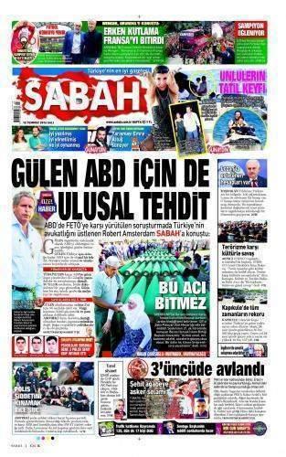 12 Temmuz 2016 Gazete Manşetleri