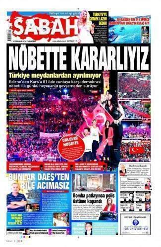25 Temmuz 2016 Gazete Manşetleri
