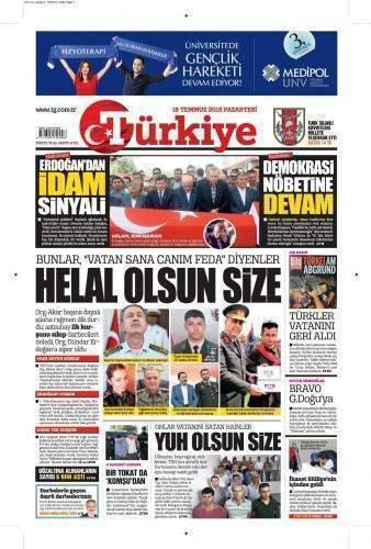 18 Temmuz 2016 Pazartesi Gazete Manşetleri