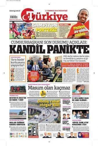 11 Temmuz 2016 Gazete Manşetleri