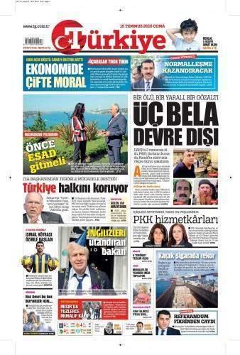 15 Temmuz 2016 Cuma Gazete Manşetleri