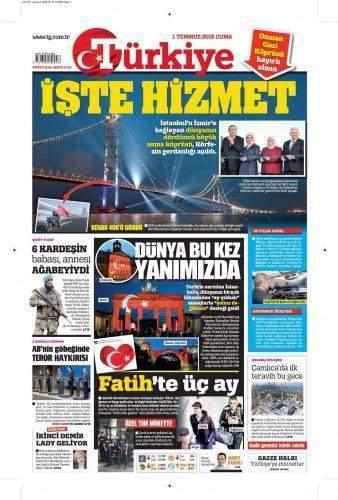 1 Temmuz 2016 Cuma Gazete Manşetleri