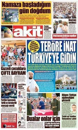 7 Temmuz 2016 Perşembe Gazete Manşetleri