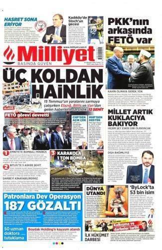 19 Ağustos 2016 Cuma Gazete Manşetleri