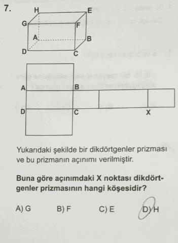 TEOG 2. dönem matematik soruları ve cevapları