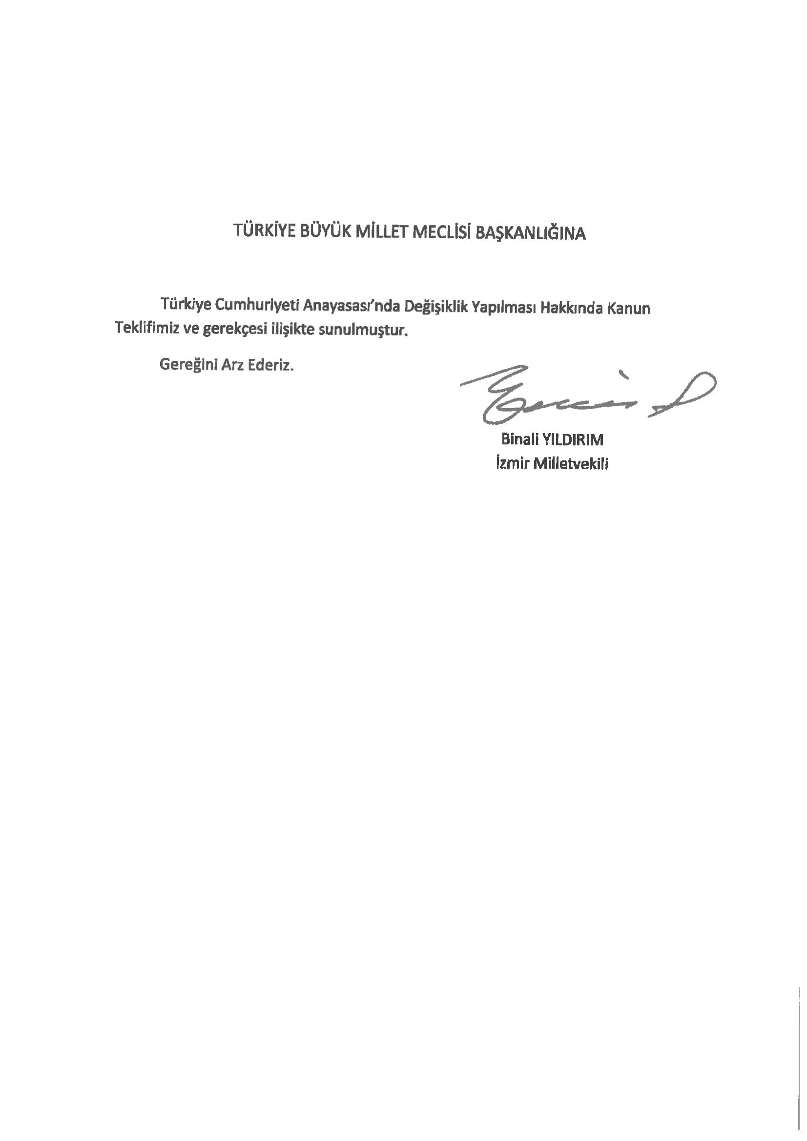 21 maddelik yeni anayasa değişikliği teklifi