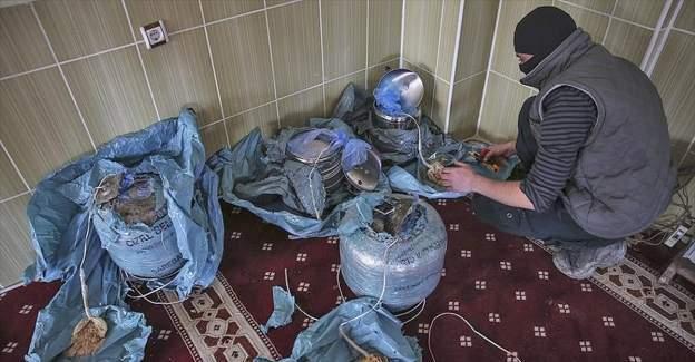 Teröristler camiye patlayıcı saklamış