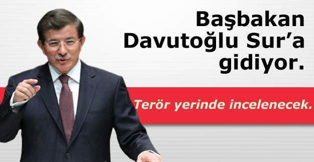 Başbakan Ahmet Davutoğlu Diyarbakır Sur'a gidiyor