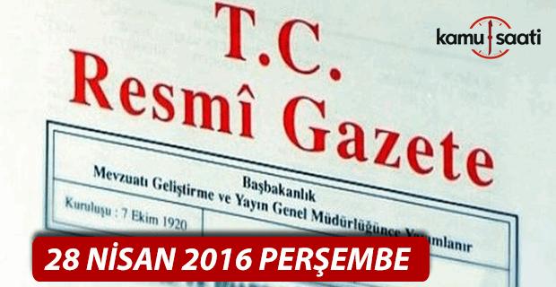 28 Nisan 2016 tarihli 29697 sayılı Resmi Gazete
