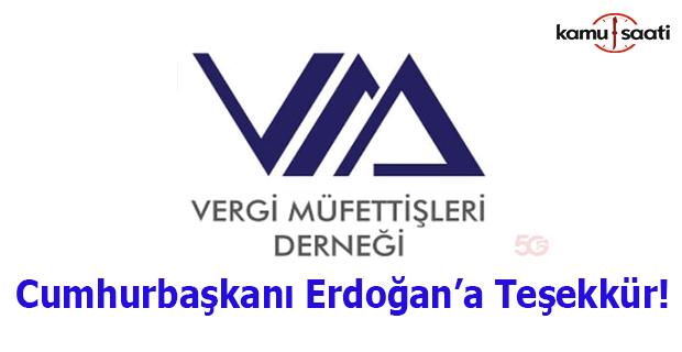 Vergi Müfettişleri Derneği'nden Cumhurbaşkanı Erdoğan'a teşekkür