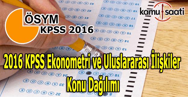 2016 KPSS Uluslararası İlişkiler ve Ekonometri sınavı konu dağılımı