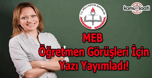 MEB öğretmen görüşleri için yazı yayımladı