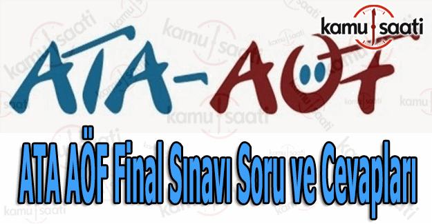 ATA AÖF sınav soru ve cevapları açıklandı - 11-12 Haziran ATA Aöf final soru cevap öğren