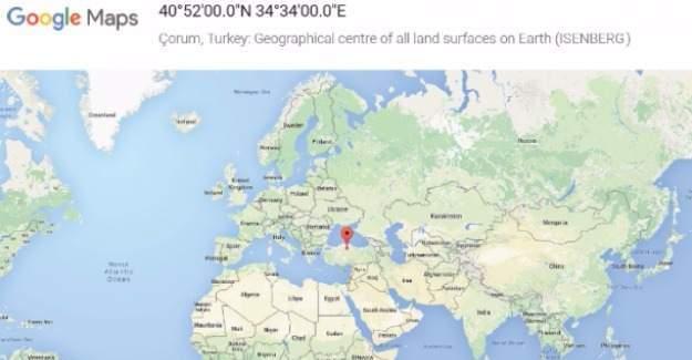 Çorum, Google'a göre Dünya'nın merkezi