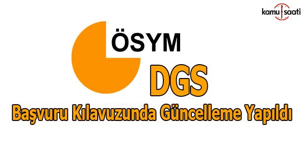 DGS kılavuzunda güncelleme yapıldı