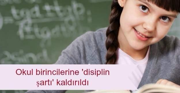 Okul birincilerine 'disiplin şartı' kaldırıldı