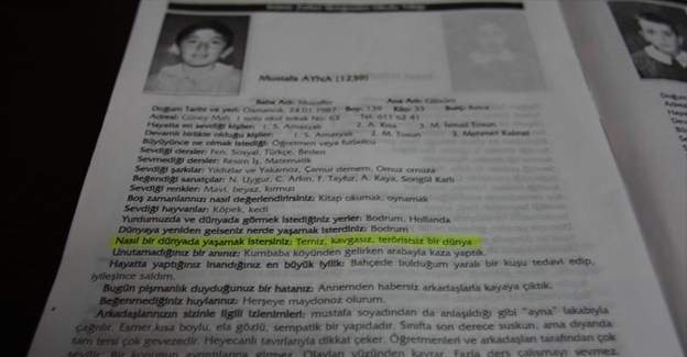 Şehidin ilkokul yıllığındaki notu: 'teröristsiz bir dünya'