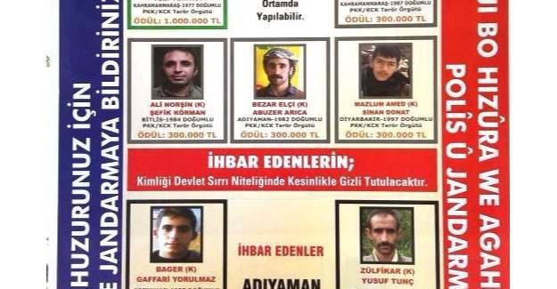 Adıyaman kırsalında oldukları belirlenen 5 kişilik terörist listesine 4 kişi daha eklendi