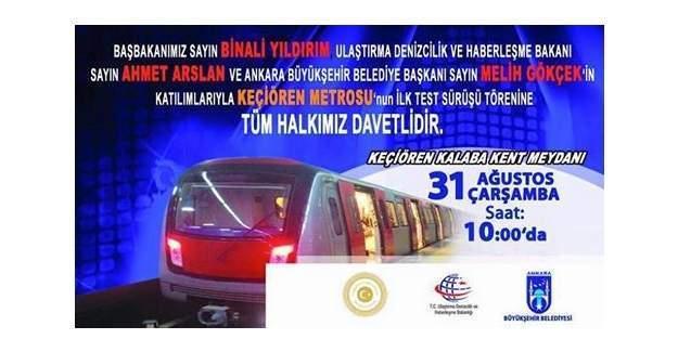 Ankara Keçiören Metrosunun test sürüşleri başlıyor!