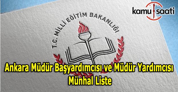 Ankara müdür başyardımcılığı ve müdür yardımcılığı münhal listesi - (Güncel Liste)
