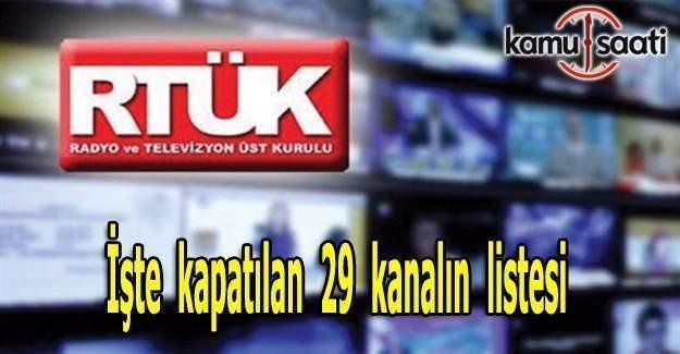 RTÜK 29 kanalı kapattı-Kapatılan kanalların listesi