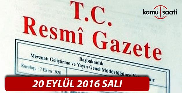 20 Eylül 2016 Resmi Gazete