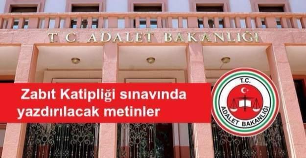 Adalet Bakanlığı, Zabıt Katipliği sınav metni duyurusu