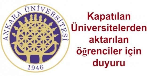 Ankara Üniversitesinden kapatılan üniversite öğrencileri için açıklama