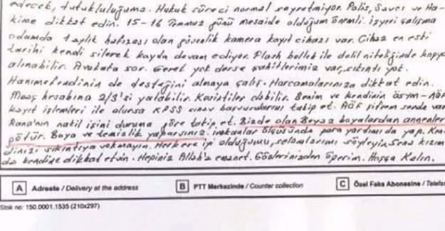 FETÖ'cünun eşine gönderdiği şifreli mektup ortaya çıktı!