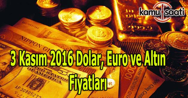 3 Kasım 2016 Dolar, Euro ve Kapalı Çarşı altın fiyatları