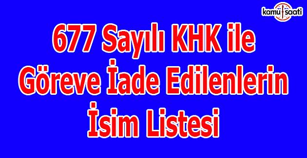 667 sayılı KHK ile göreve iade edilenlerin isim listesi