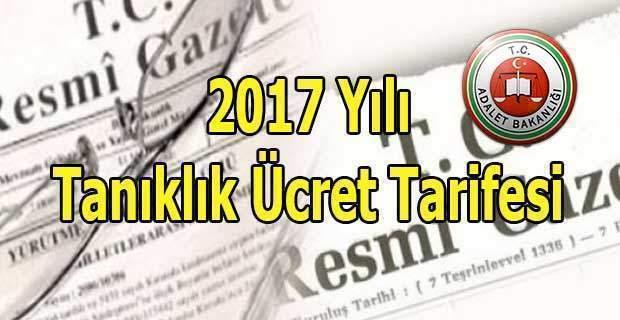2017 Yılı Tanıklık Ücret Tarifesi