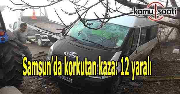 Samsun'da öğrenci servisi şarampole devrildi: 12 yaralı