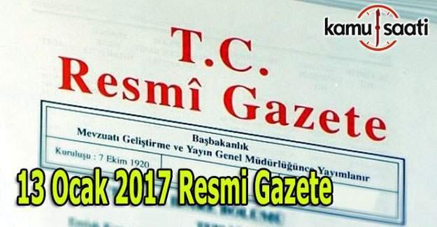 13 Ocak 2017 tarihli 29947 sayılı Resmi Gazete yayımlandı
