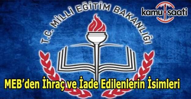 679 KHK ile MEB'den İhraç ve İade edilenlerin isim listesi