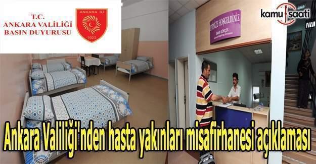 Ankara Valiliği'nden hasta yakınları misafirhanesi açıklaması