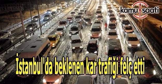 İstanbul'da beklenen kar başladı-Trafik felç