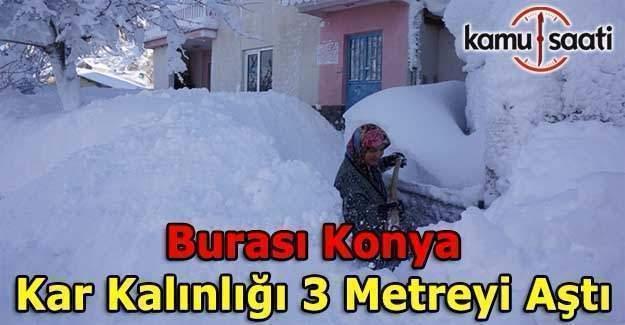 Konya'da kar kalınlığı 3 metreyi aştı