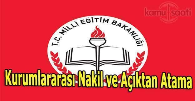 MEB'den Kurumlararası Nakil ve Açıktan Atama ile ilgili resmi yazı
