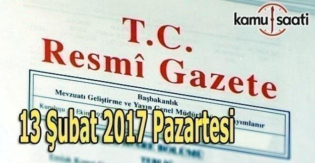 13 Şubat 2017 Tarihli ve 29978 Sayılı Resmi Gazete