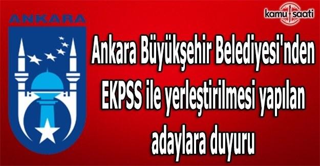 Ankara Büyükşehir Belediyesi'nden EKPSS duyurusu