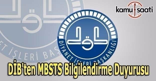 DİB'ten MBSTS bilgilendirme duyurusu