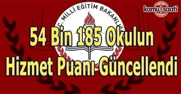 MEB 54 Bin 185 okulun Hizmet Puanını güncelledi