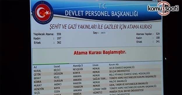 559 şehit ve gazi yakınının atama kurası yapıldı